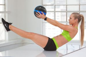 Using the rubber medicine ball